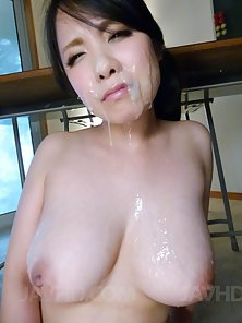 Big Boobs Babe Miho Tsujii Face Covered by Her Dude Thick Jizz