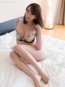 Lingerie wearing Asian loves to play with dick
