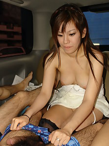 Asian Yuri Rie gives hot blowjob in the car and shows her hairy pussy.