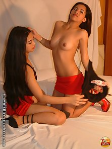 Two Young Sexy Filipina Lesbian Babes Presenting Their Naughty Looks