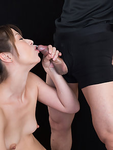 Two hard cocks hard fuck throat of this cute brunette Asian