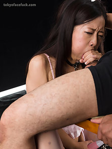 Sexy Asian slut takes dick into her mouth hard