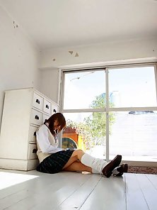 Sexy School Girl Mie Strips Her Uniform and Gets Naked and Horny