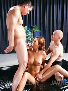 Big Boobs Babe Hina Maeda Spit Roast by Her Dudes Big Cocks
