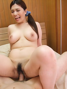 Hot Yuko Iijima rides cock with hairy cunt and has big tits sucked