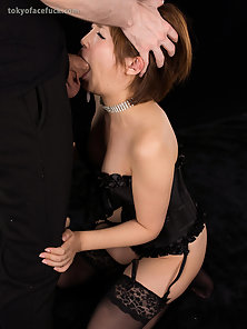 Adorable bitch loves to gag on a thick dick
