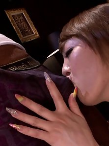 Busty Japanese Hitomi Tanaka Huge Squeezing and Rubbing a Hungry Guy On Sofa