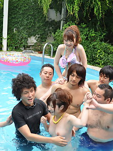 Freaky Japanese pool party with bunch of adorable kinky sluts