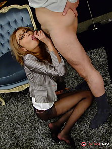 Slutty babe in stockings named Nao sucks a dick and gets creamed