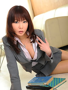 Sexy Japanese teacher Kyoushi Kan takes off her uniform and shows off