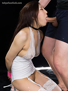 White dress Asian loves to have her mouth full