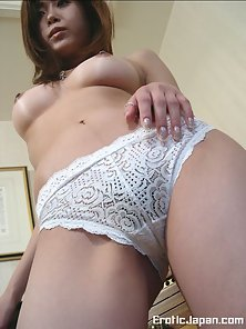 Horny Japanese Babe Ayame Is Displaying Her Big Tits on Bed