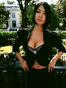 Fantastic Sexy Busty Chick Megumi in Black Dress Looking So Pretty