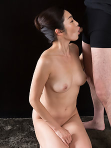Asian wife working dick with her feet and mouth