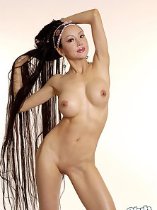 Long Hair Brunette Babe Ange Venus Showing Her Hot Nude Body in Various Ways