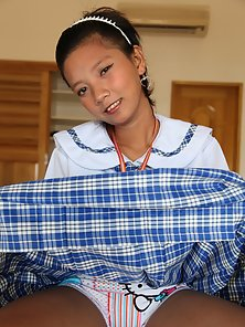 Sexy Filipina School Girl Shows Her Hairy Pussy by Strips Her Skirt