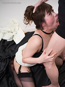 Horny bitch in stockings getting hard fucked in her mouth