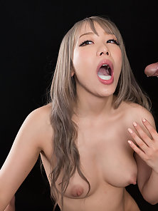 Slutty Asian chick getting her mouth filled with semen