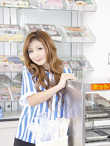 Dirty wife Hibiki Ohtsuki gets rammed at work by the cash register