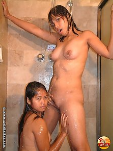 Two Sexy Filipina Babe Takes Shower and Licks Their Twats Naughtily
