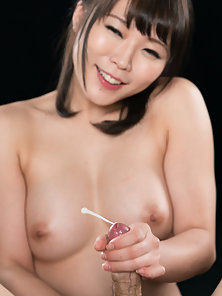 Tiny Japanese cutie jerking and blowing dick until cum exposion