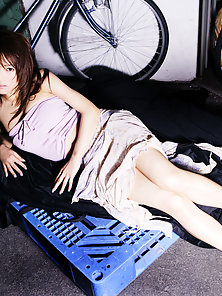 Pretty Looking Sexy Japanese Chick Yumiko Shaku Give Naughty Look On Stair