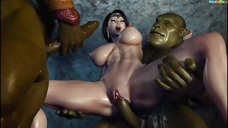 3D animated chick nails two trolls from WOW in rough threesome