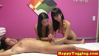 Horny Masseuses Giving Handjob and Blowjob in Threesome