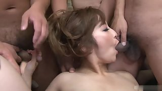 Naughty Whore Sucked Big Dicks on Camera For Bukkake