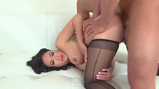 Stockings Wearing Chick Gets Hammered by Her Dude