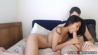 Skinny girlfriend sucking white cock on webcam
