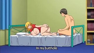 Cartoon blonde is on her knees begging for his dick