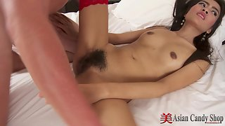 Asian snatch getting penetrated hard