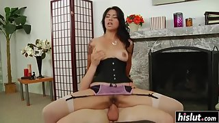 Lingerie wearing lady rides large cock and bouncing deep
