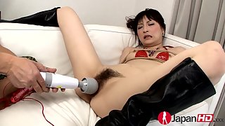 Horny mature hairy clit fucked by tiny vibrator