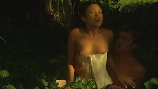 Reverse cowgirl riding of cute Asian bitch