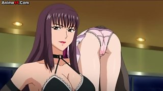 Hot anime fighting action and girls bent over with their panties showing